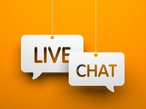 Live chat symbols hanging on strings