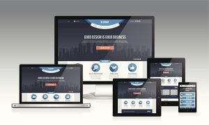 Modern responsive website design layout with multiple device.