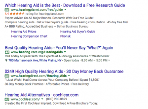 Paid Search Results for hearing aids