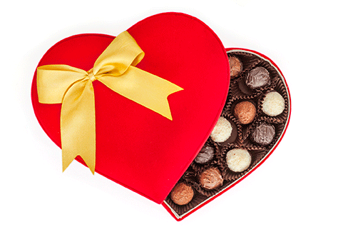 Box of chocolate hearts to sell more hearing aids on Valentine's Day