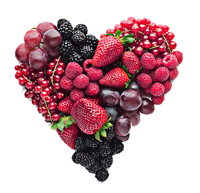 Picture of heart made of fruit