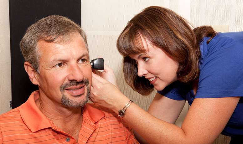 Patient getting a hearing test