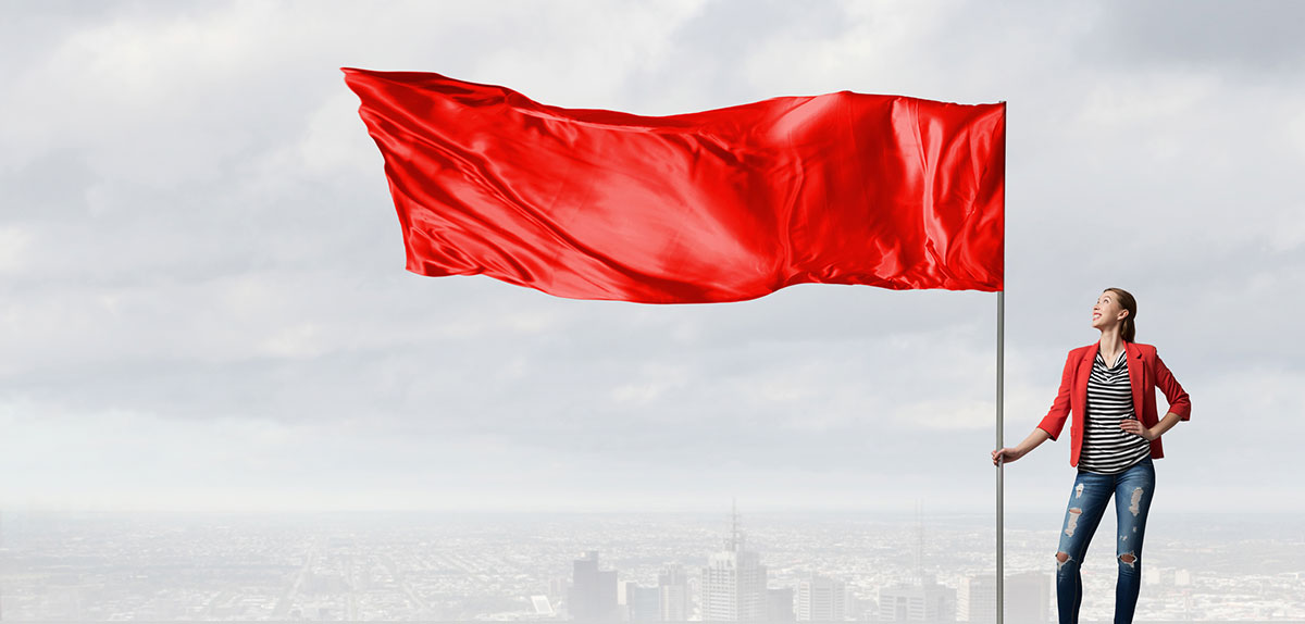Red flag waving in the wind. The word FREE can be a red flag to your medical marketing plan.